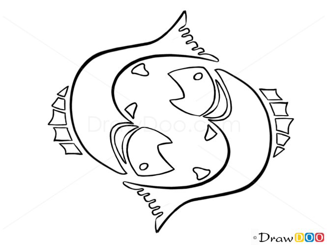 Zodiac Line Drawing : How to draw pisces fish zodiac signs