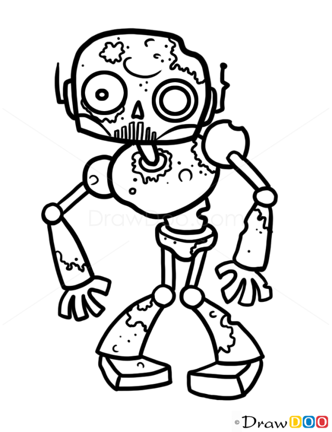 Line Drawing Ethics : How to draw zombie robot zombies and undead