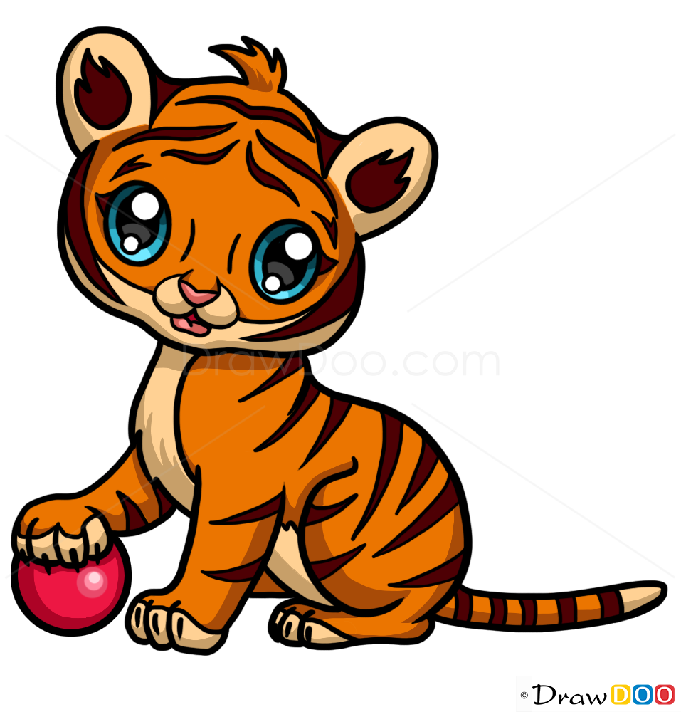 Tiger drawing, How to Draw Cute Anime Animals