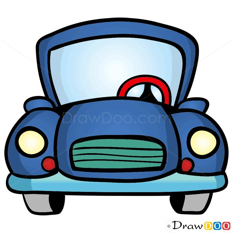 How To Draw Blue Car Cartoon Cars