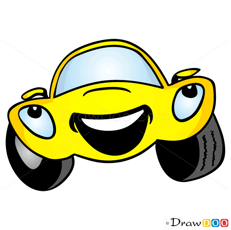 how to draw laughing car cartoon cars