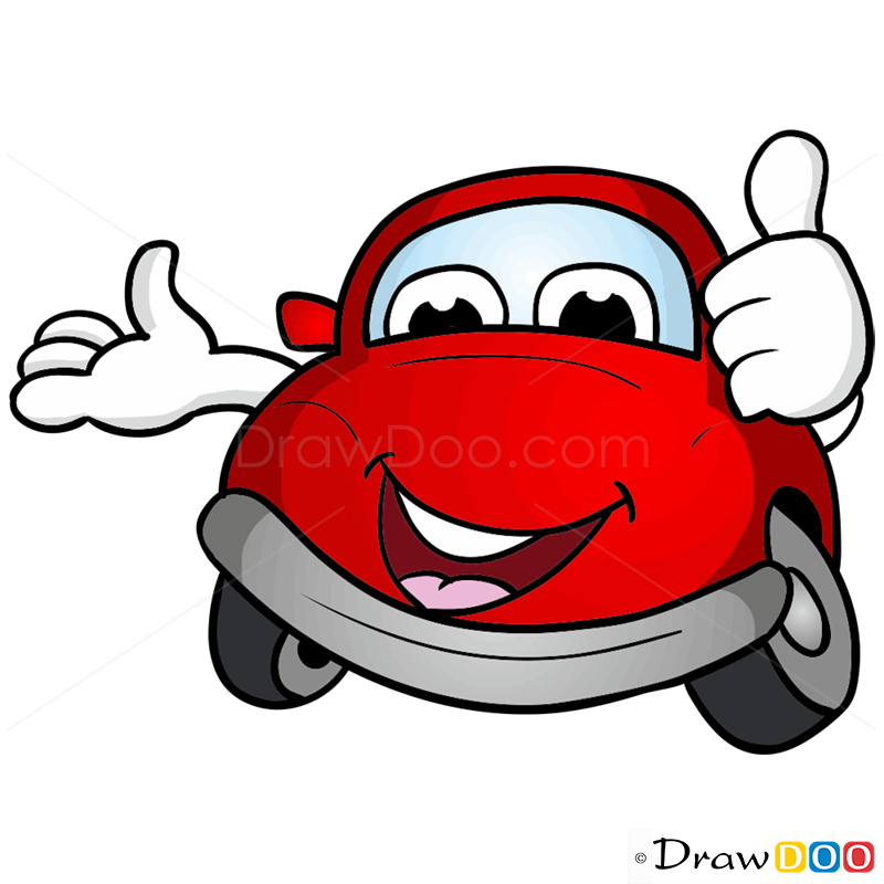 How to draw little red car cartoon cars
