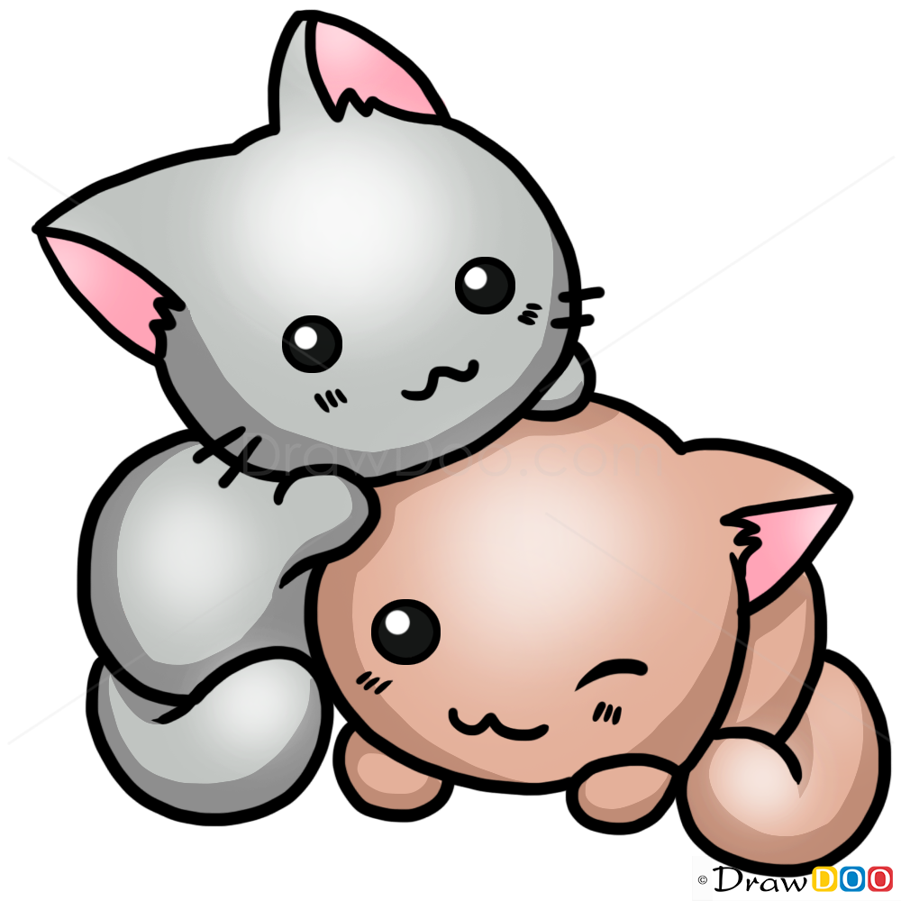 How to draw a cute cat cats and kittens easy drawing for How to draw a cartoon kitten