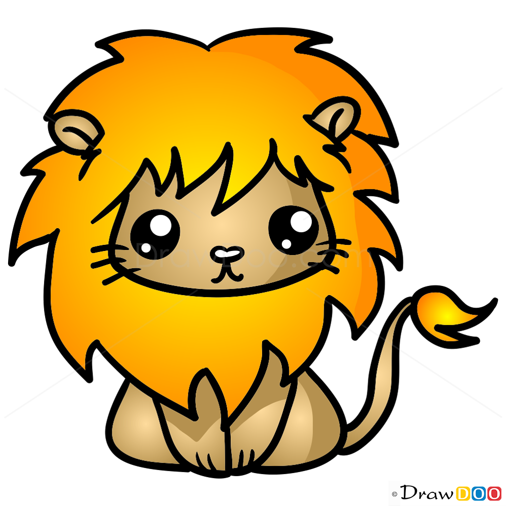 Cute lion drawing - photo#2