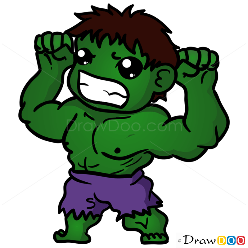 how to draw hulk chibi