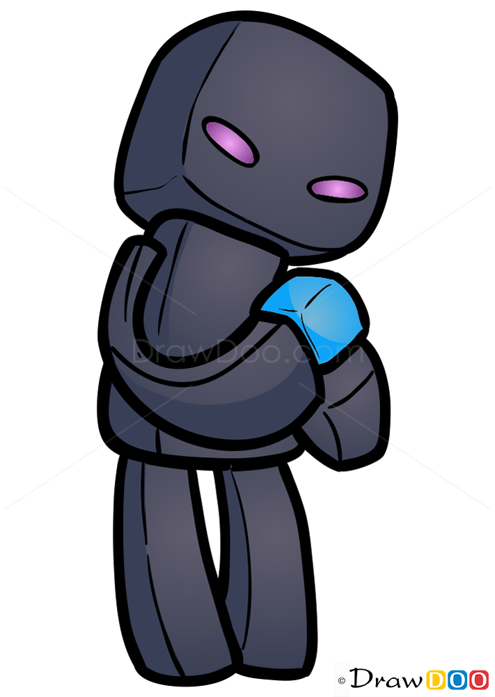 How To Draw Enderman Chibi Minecraft