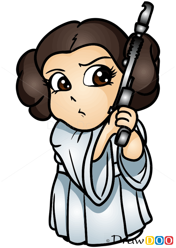 How To Draw Princess Leya Chibi Star Wars