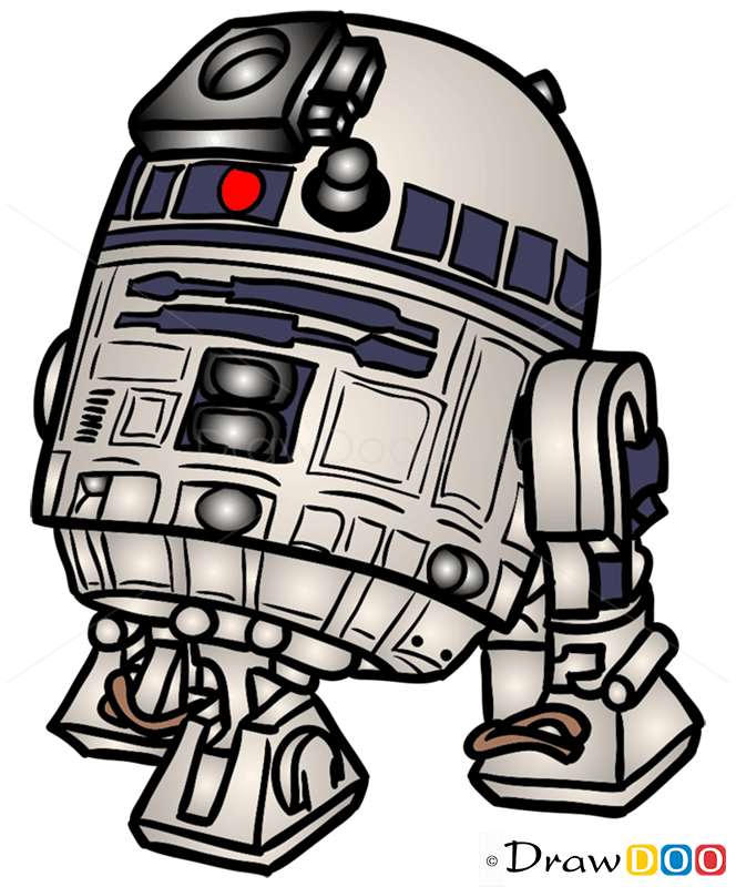 How To Draw R2 D2 Chibi Star Wars