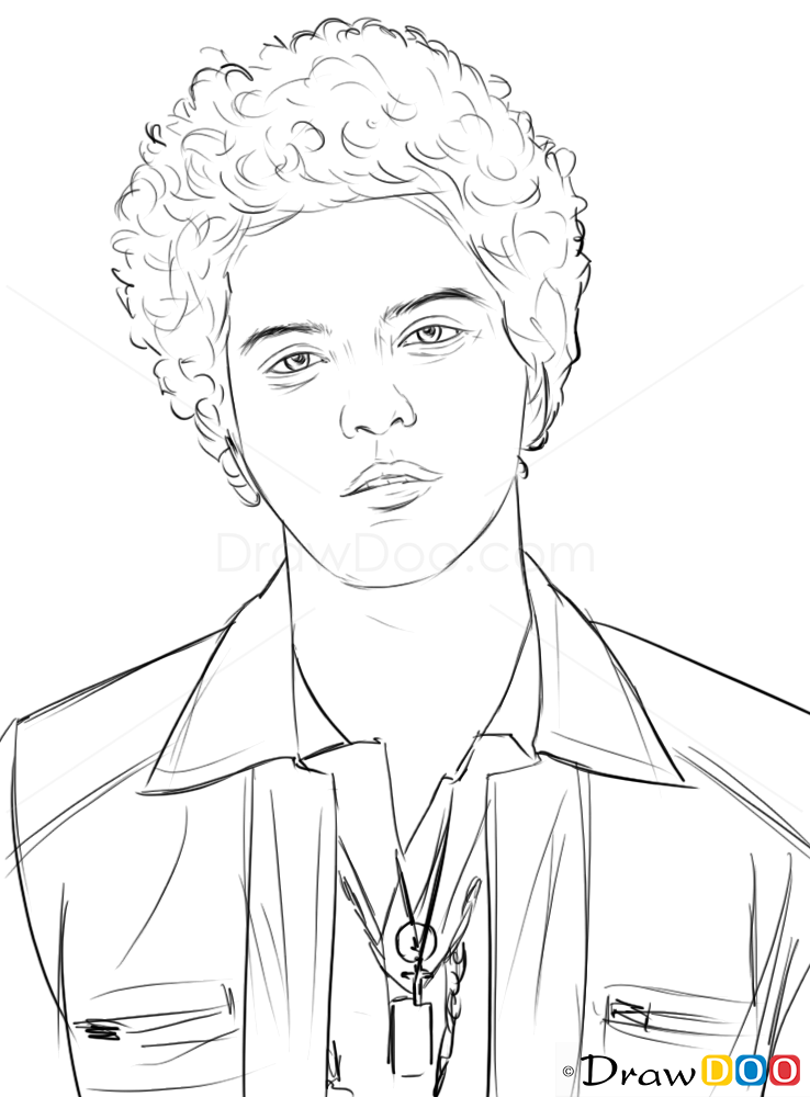 How To Draw Bruno Mars Famous Singers How To Draw