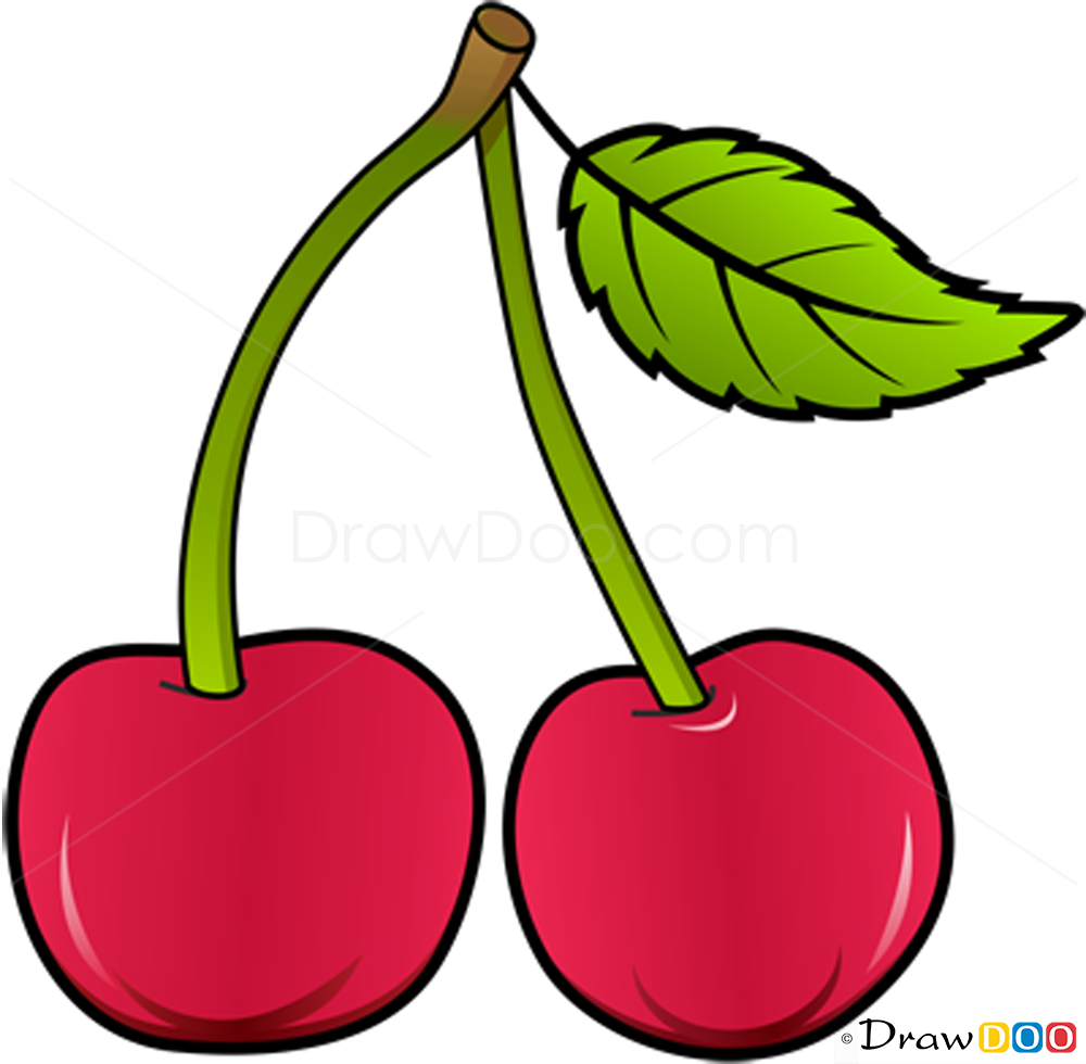 Cherry Drawing For Kids on Fruit Coloring Pages