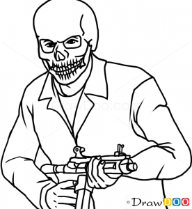 How to Draw Franklin in Skull Mask GTA
