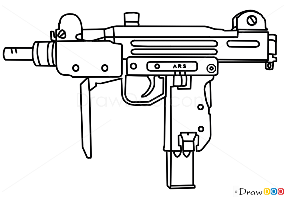 One Line Art Gun : How to draw uzi guns and pistols drawing