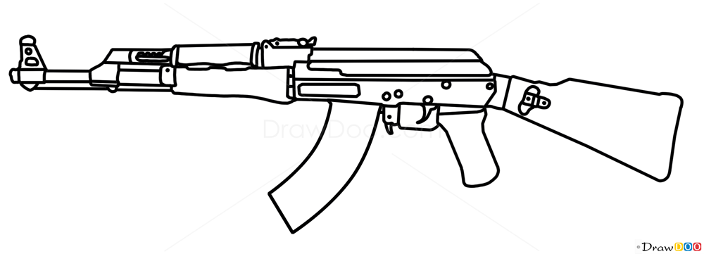 How To Draw AK 47 Guns And Pistols Draw Drawing