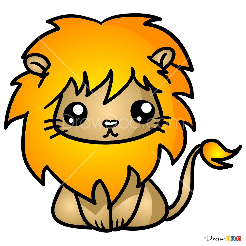 how to draw lovely lion kawaii