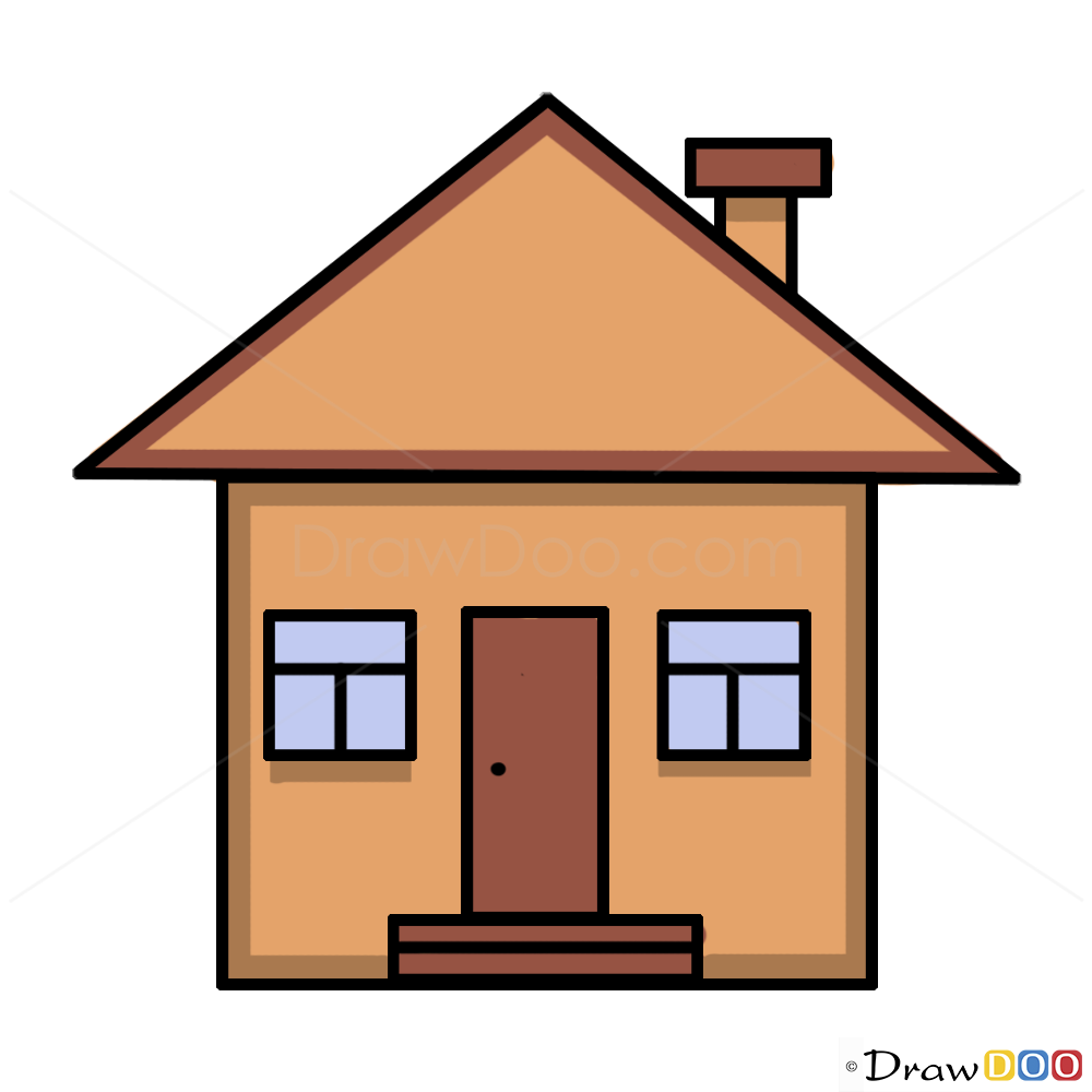 How to Draw a House, For Kids , Step by Step Drawing