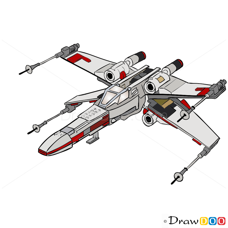 X Wing Line Drawing : How to draw wing starfighter lego starwars