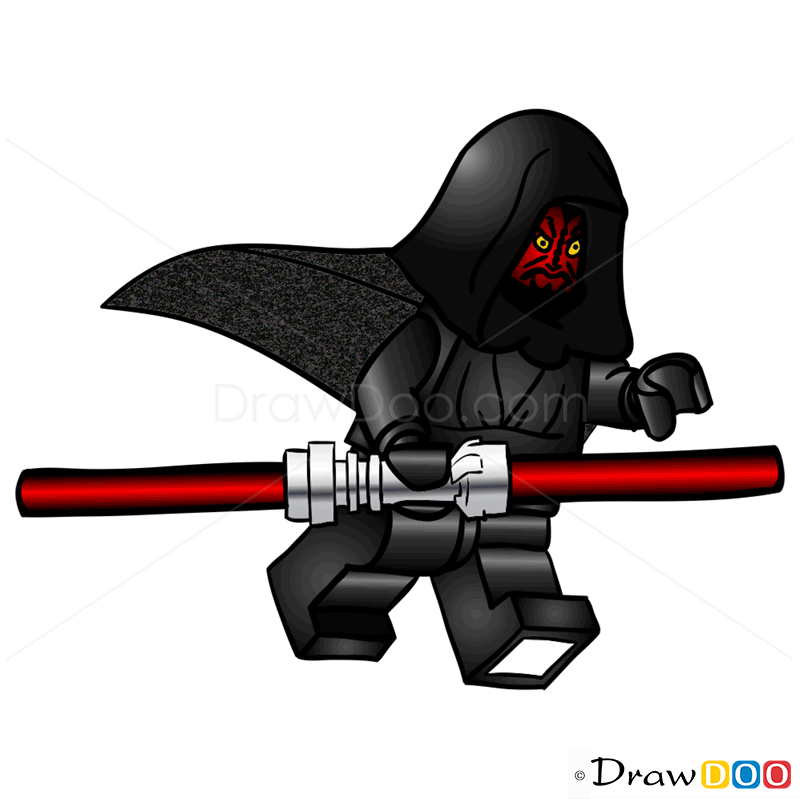 How To Draw Lego Darth Maul For Kids, Star Wars, Step by ...