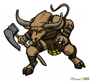 How to draw minotaur monsters