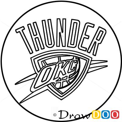 How To Draw Oklahoma City Thunder Basketball Logos How
