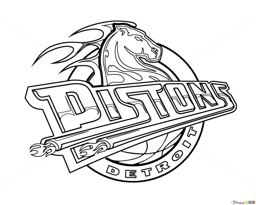 How to Draw Detroit Pistons, Basketball Logos - How to ...