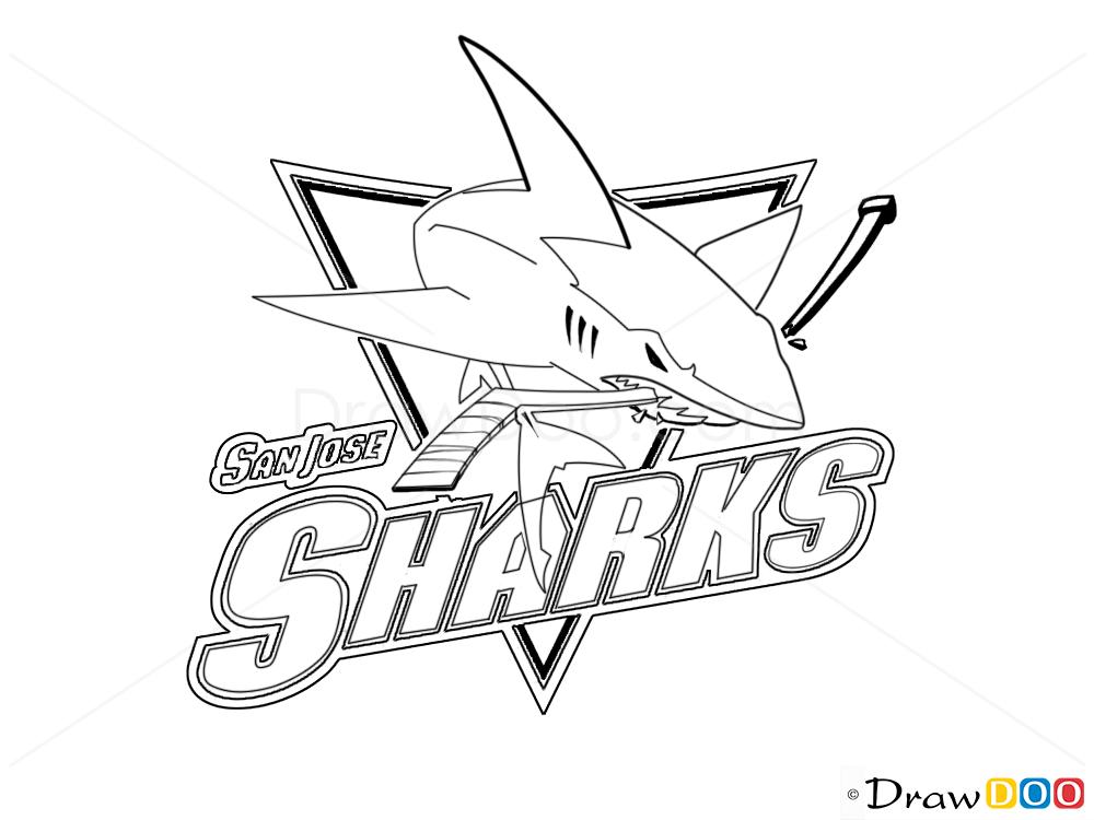 How to draw san jose sharks hockey logos how to draw for San jose sharks coloring pages