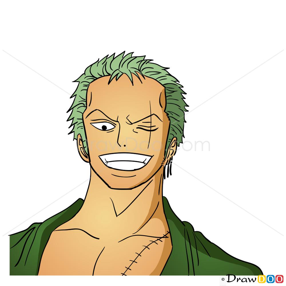 How To Draw Roronoa Zoro Face One Piece