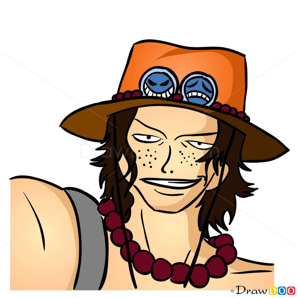 How to Draw Portgas D. Ace Face, One Piece | 1000 x 999 png 283kB