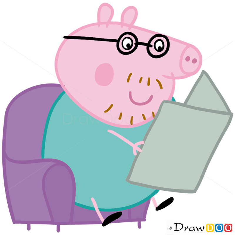 How To Draw Daddy Pig Peppa Pig