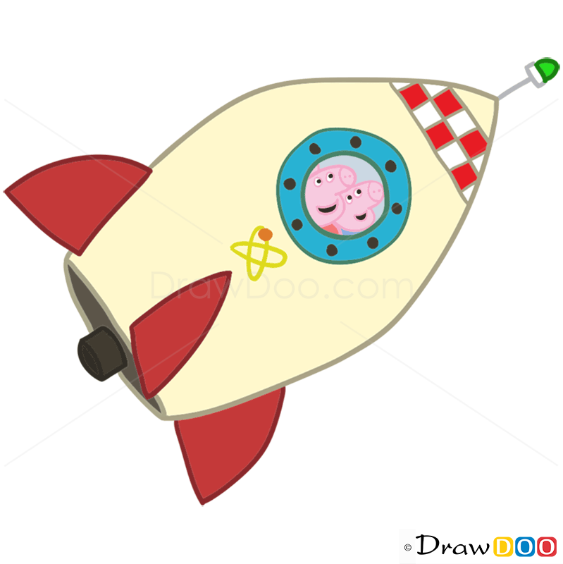 How To Draw In The Rocket Peppa Pig