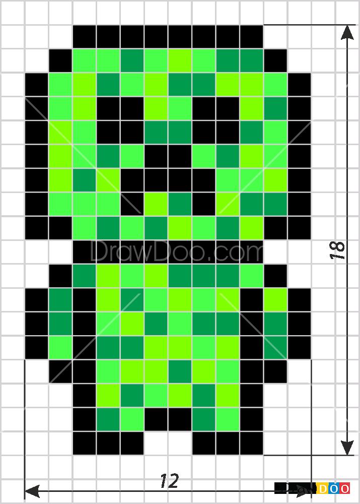 How To Draw Creeper Chibi Pixel Minecraft