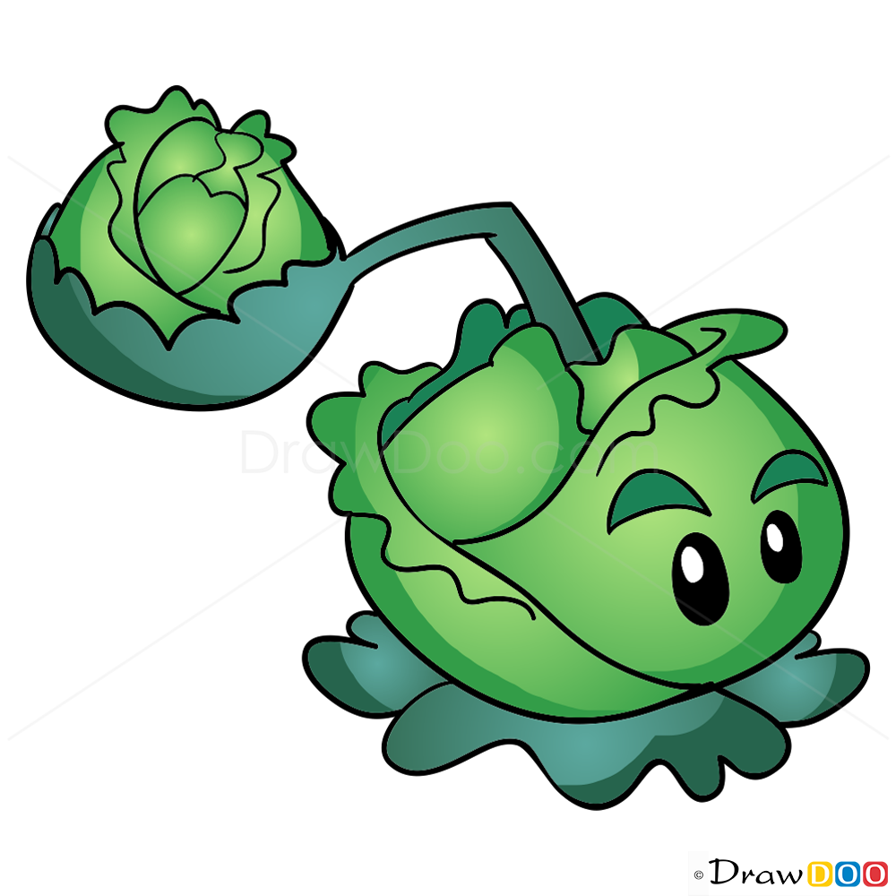How To Draw Cabbage Pult Plants Vs Zombies