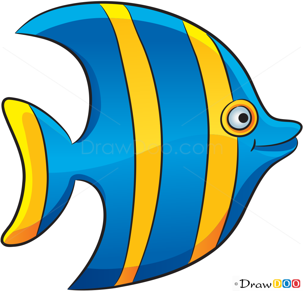 How to Draw Striped Fish, Sea Animals - How to Draw ...