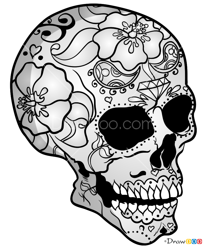 How To Draw Mexico Skull Skeletons