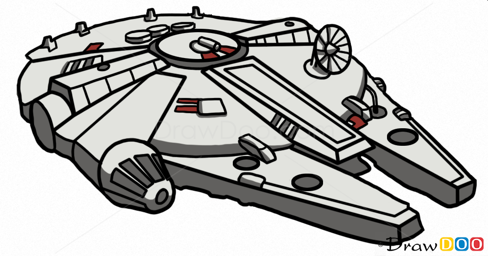 How To Draw Millennium Falcon, Star Wars, Spaceships