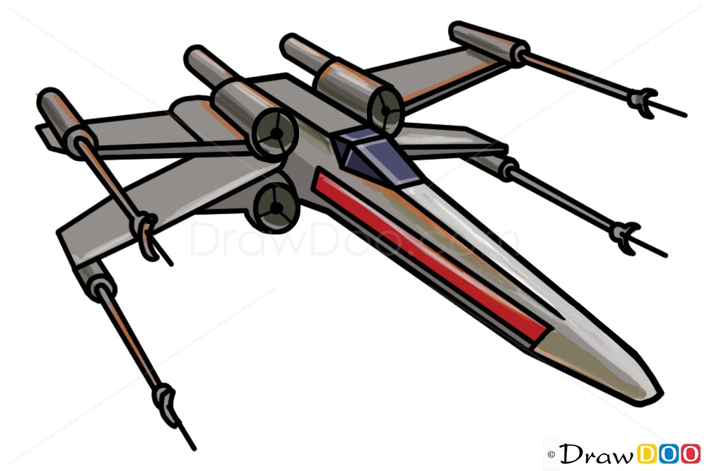 How To Draw X Wing Star Wars Spaceships