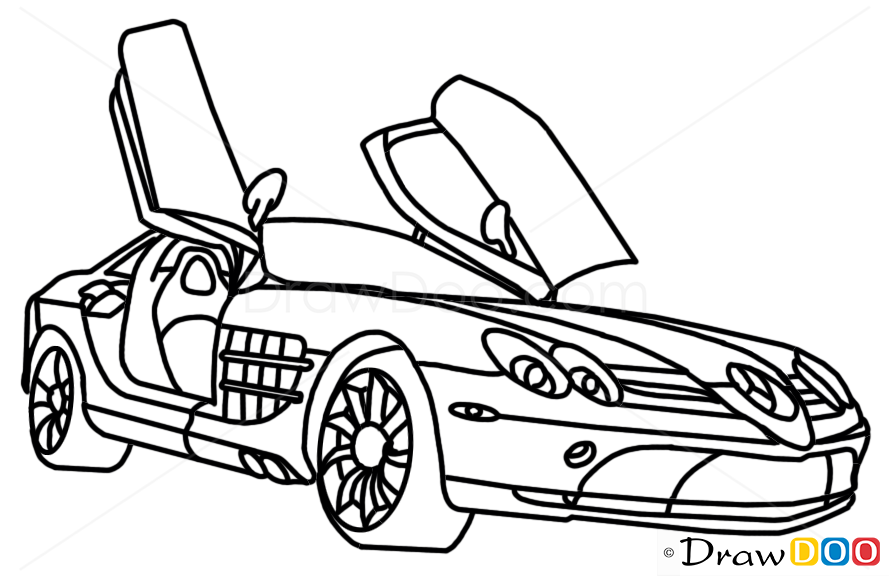 how to draw mercedes-benz slr mclaren  supercars