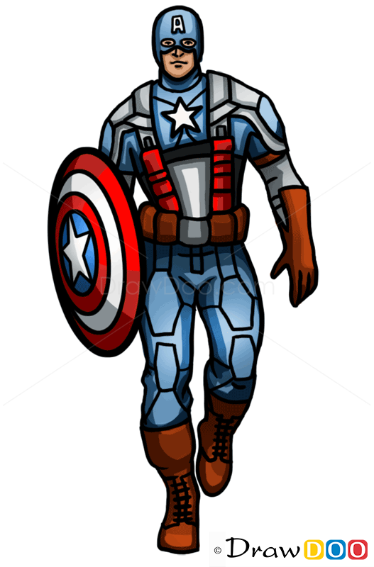 How to Draw Captain America, Superheroes - How to Draw ...