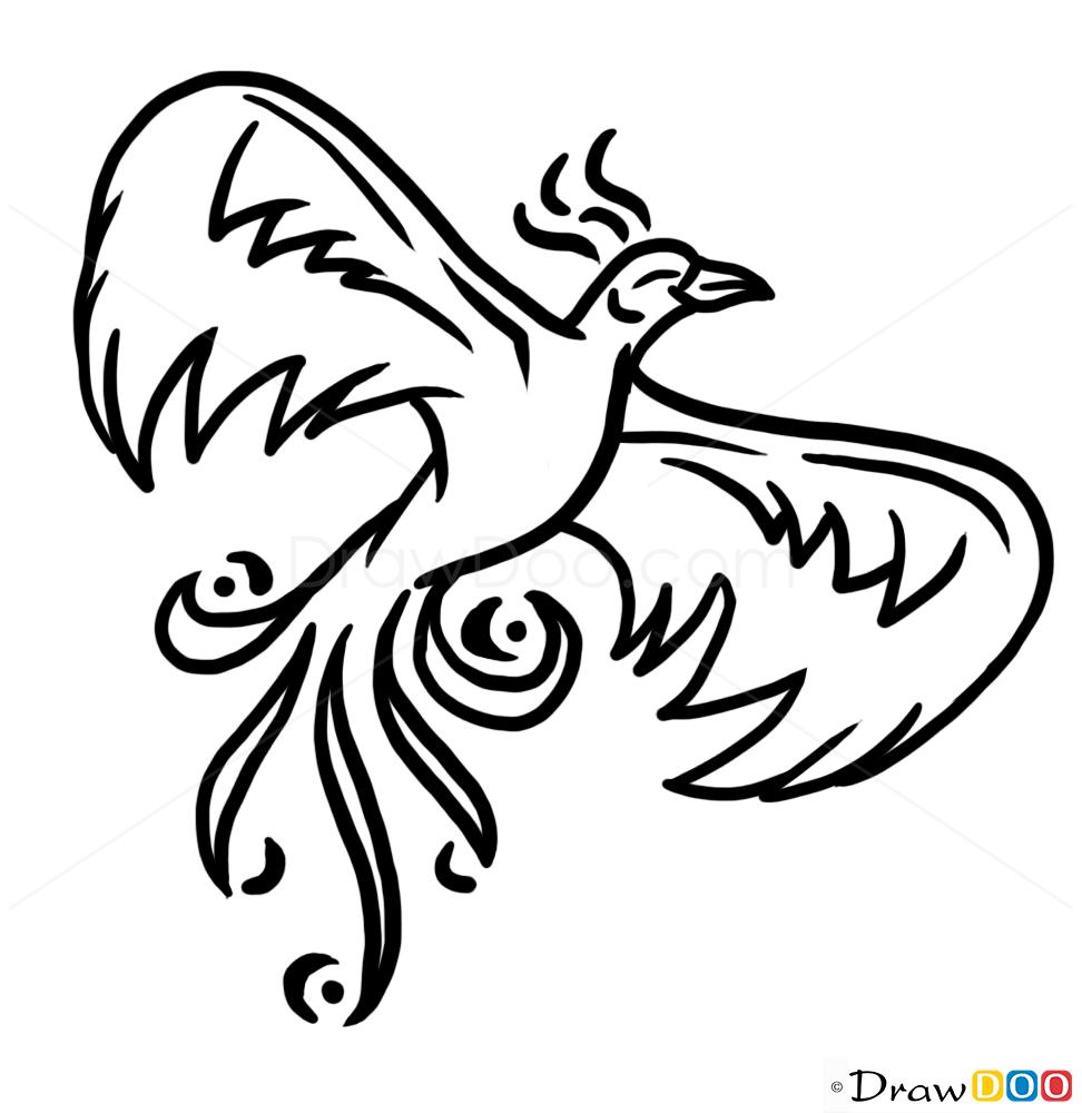 Tattoo Ideas Easy To Draw: Phoenix Bird Tattoo, How To Draw Tattoo Designs
