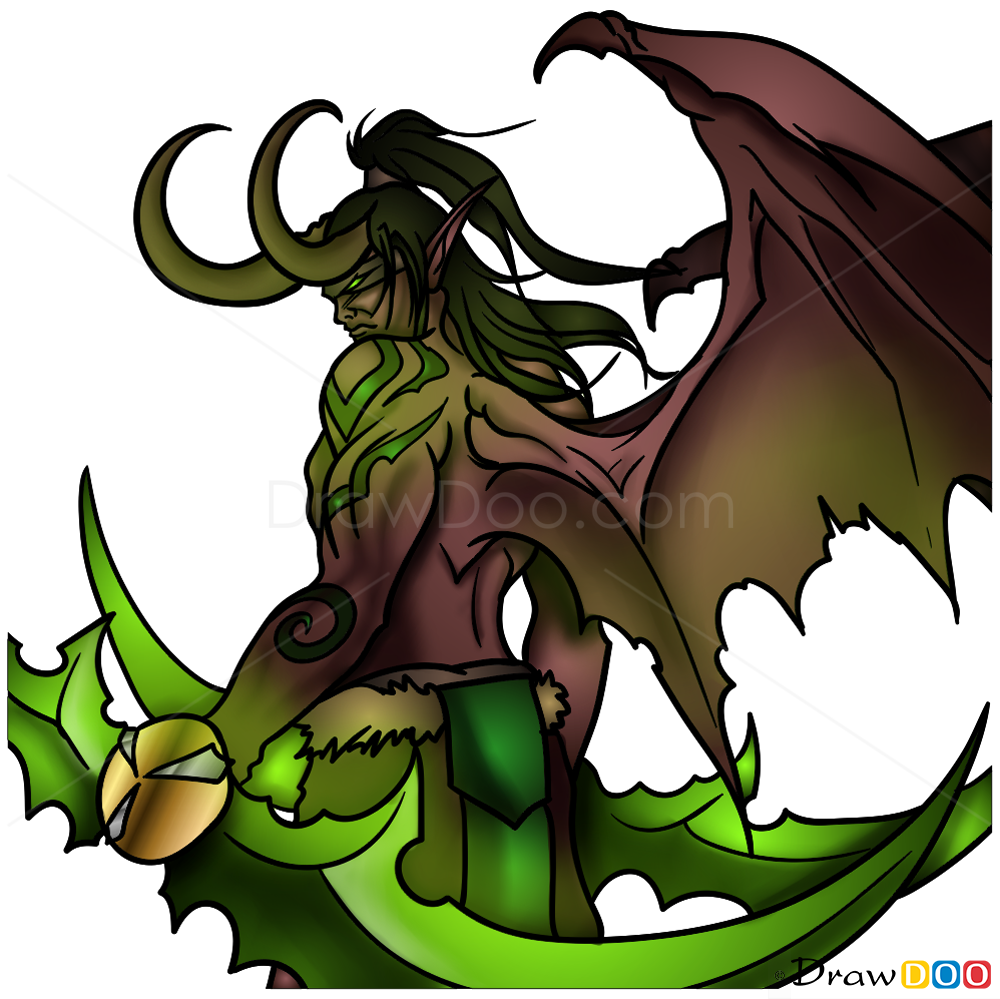 how to draw illidan  warcraft